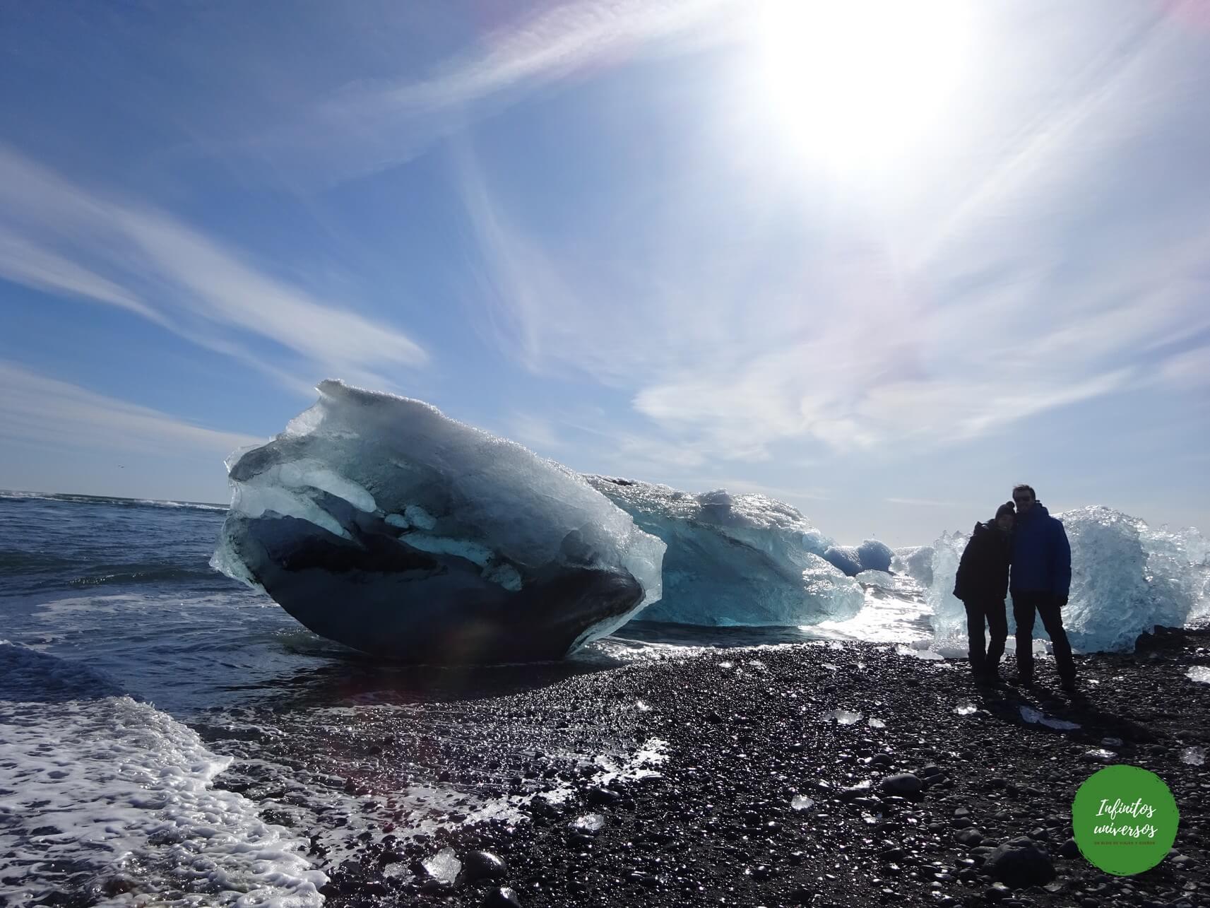 Playa de los Diamantes Lago glaciar Jökulsárlón viajes a islandia